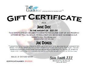 Gift certificates for training from tall guns llc tall guns gift certificate example yelopaper Images