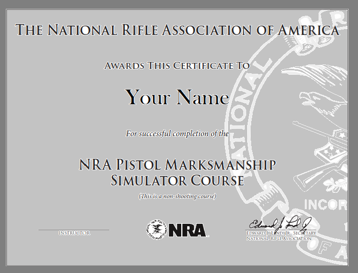 Nra pistol marksmanship simulator course training from for Basic certificate template